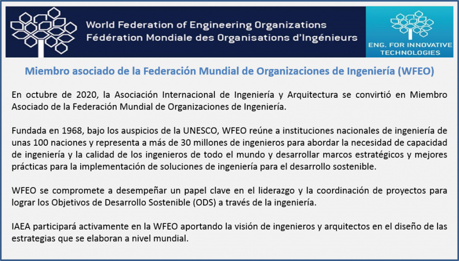 Miembro Asociado de la Federación Mundial de Organizaciones de Ingeniería (WFEO)